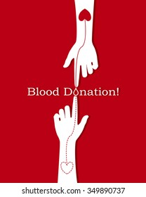 Hands with heart shape on red background illustration,Blood Donation