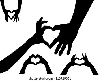 hands heart silhouette