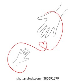 Hands and heart. Vector charity and volunteer concepts and logo design elements. Emblems and signs for nonprofit and philanthropic organizations and centers. Hand drawn illustration.