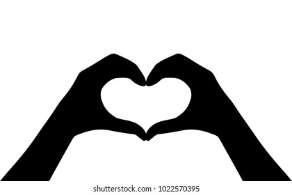 Hands heart vector silhouette icon isolated on white background