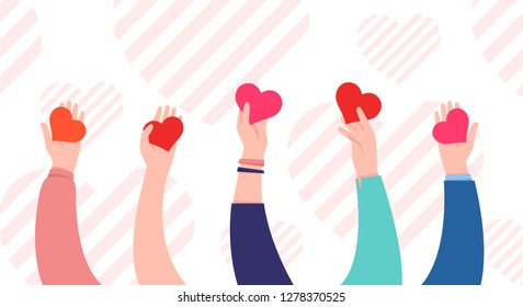 Hands with hearts. Charity and donation concept. Sharing love. Valentine's day. Cute simple design. Beautiful background, greeting card. Hand holding heart symbol. Flat style vector illustration.