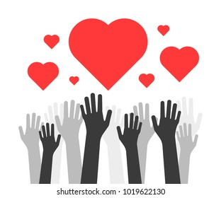 hands up with hearts like volunteers charity. concept of money or food union global donation and healing or mercy. simple flat style trend red teamwork logo graphic design isolated on white background
