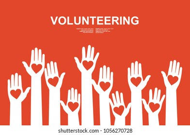 Hands with hearts. Raised hands volunteering vector concept