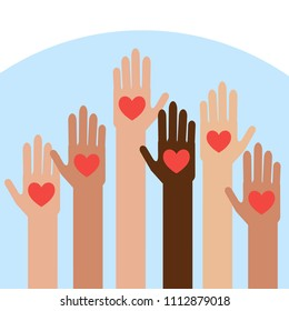 Hands with hearts.Charity and donation give and share your love to poor people.  Vector illustration