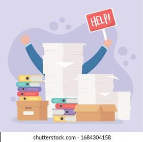 hands help placard paperwork stack binders folder boxes office work frustration stress vector illustration