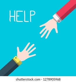 Hands with Help Title - Vector Helping Hands Concept
