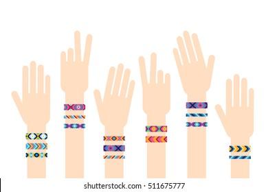 Hands with hippy friendship bracelets. Vector illustration