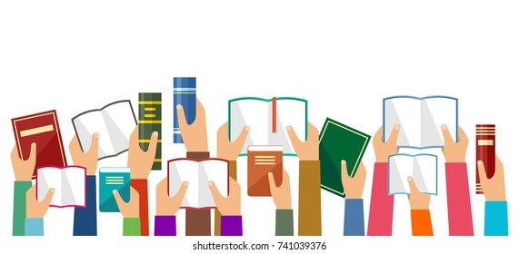 Hands hold books. Vector illustration
