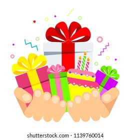 Hands hold boxes with gifts. Surprise for a holiday, birthday or Christmas. Flat vector cartoon illustration. Objects isolated ongreen background.