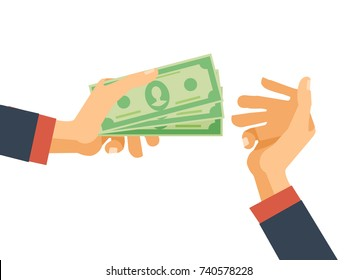 Hands hold cash money, financial bills. Concept of financial operations with cash, investments and savings, deposits, money turnover, funding, bribe, donation, payday. Vector illustration isolated.