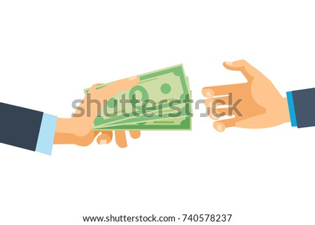 Hands hold cash money