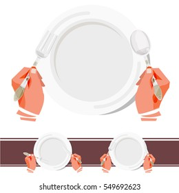 Hands hold fork, spoon and knife above plate. Isolated. vector illustration
