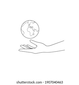 Hands hold the globe. Vector illustration isolated on white background