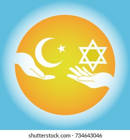 Hands hold the Israel and Islamic symbol,Vector image, flat design, sun