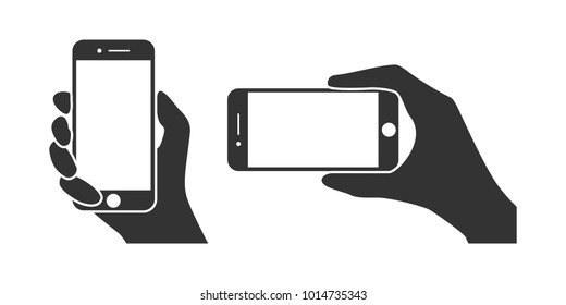 Hands hold the phone in horizontal and vertical positions