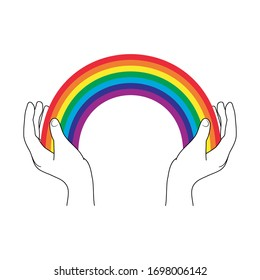 Hands hold a rainbow for hope and wish. Everything will be fine. Rainbow icon logo isolated on background. Hand drawn template for art used by italians during quarantine in fighting with coronavirus.
