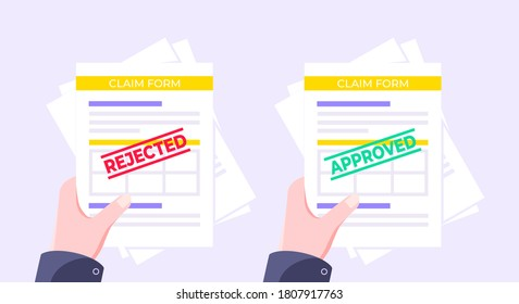 Hands hold rejected and approved claim or credit loan forms, paper sheets and stamps flat style design vector illustration. Verify or deny document, cv resume, insurance application form set.