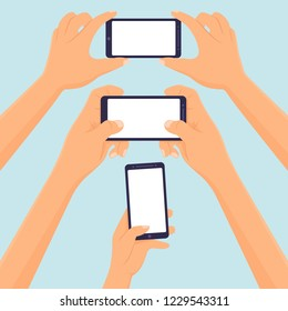 Hands Hold smartphone taking selfie photo and playing video games blank template Vector illustration