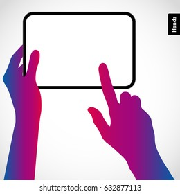 The hands hold the tablet pc and touch the screen with your finger. Vector silhouette illustration.