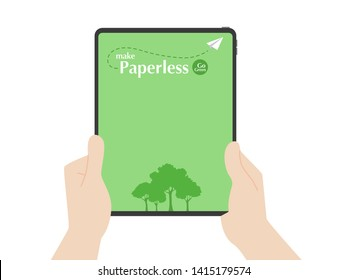 Hands hold tablet trees and rocket paper fly around paperless logo go green concept idea, hand catch new tablet pro, nature, save the planet, read documents, business device, tablet, screen display.
