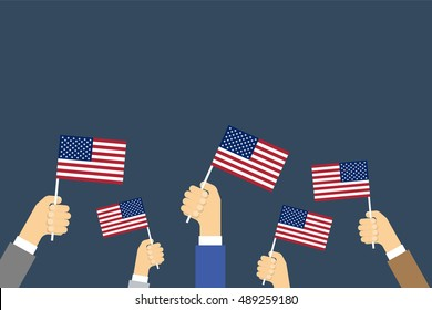 Hands Holding Up American Flags. Vector background