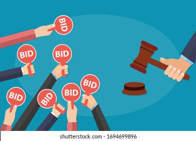 Hands holding auction paddle with bid text on it and hammer about to close the deal. Bid plates and auctioneer hammer. Auction competition concept. EPS 10 Vector illustration, flat style.
