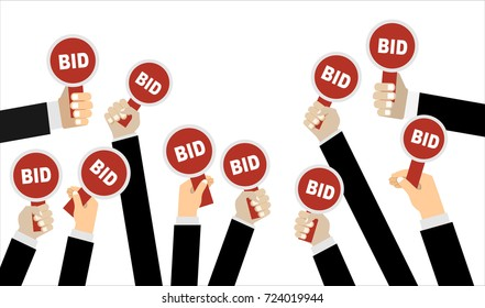 Hands holding auction paddle. Flat vector illustration.