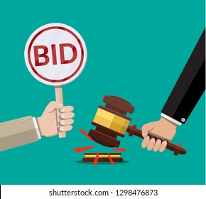 Hands holding auction paddle and hammer. Bid plate. Auction competition. Vector illustration in flat style