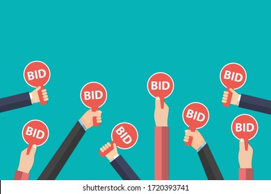 Hands holding auction paddle isolated on blue background. Auction and bidding sale process concept. Eps vector illustration, flat style minimalistic design