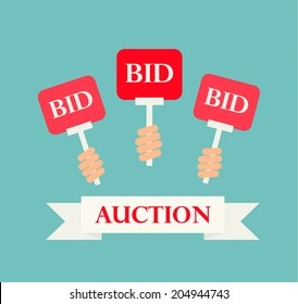 Hands holding auction paddles, vector illustration of auction or bidding