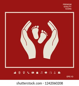 Hands holding baby foot - protection symbol. Graphic elements for your design