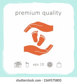 Hands holding baby foot, protection symbol. Graphic elements for your design