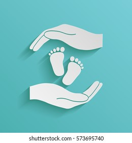 Hands holding baby foot, protection symbol