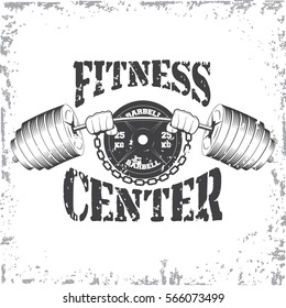 Hands holding barbell gym and fitness sport club vintage logo on a white background. Vector illustration.