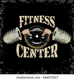 Hands holding barbell gym and fitness sport club vintage logo on a black background. Vector illustration.