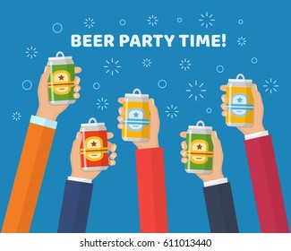 Hands holding the beer cans. Cheers. Concept for beer festivals and parties in a trendy flat style.  Beer cans set isolated vector illustration.