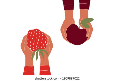 Hands holding big strawberry and big cherry. Vector illustration in minimalistic style.
