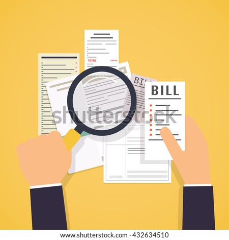 Hands holding bills and magnifying glass. Payment of utility, bank, restaurant and other. Flat design modern vector illustration concept.