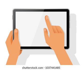 Hands holding black tablet and pointing on the screen concept vector illustration.