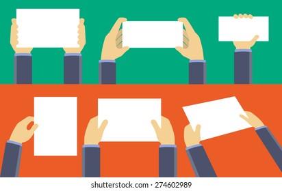 Hands holding blank sheet of paper, flat design concept