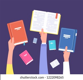 Hands holding books. Public library, literature and readers. Education and knowledge vector concept