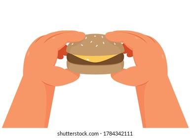Hands holding a burger, on white background - illustration vector