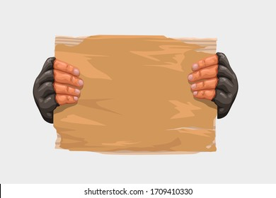 hands holding cardboard on white