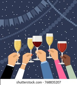 Hands holding champagne and wine glasses, celebrating. Vector illustration