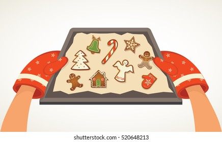 hands holding Christmas bakery gingerbread cookie tray. vector illustration