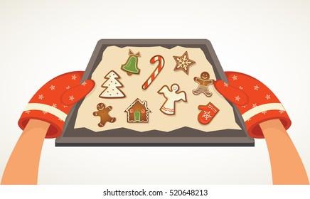 Weihnachtsplätzchen Clipart.Hand Holding Baking Pan Stock Illustrations Images Vectors