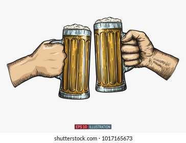 Hands holding and clinking beer glasses. Engraved style. Hand drawn vector illustration.