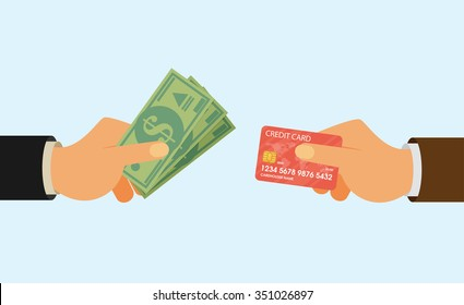 Hands holding credit card and money bills. Flat style
