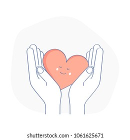 Hands holding cute red smiley Heart, receive or accept Love, Kindness, Care, Help, donation or hope. Charity, philanthropy, Volunteering or Assistance vector icon, logo. Modern line design concept.