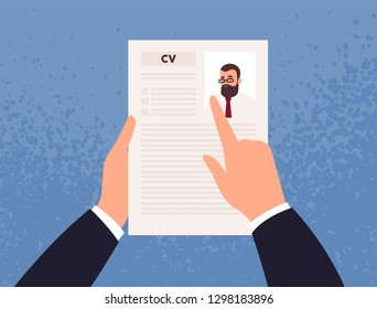 Hands holding CV or Curriculum Vitae of candidate or applicant. Concept of job application, choice of worker, staff recruitment, HR or employee hiring. Vector illustration in flat cartoon style.